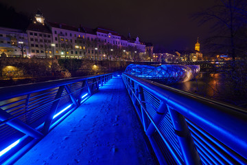 GRAZ,AUSTRIA-DECEMBER 7 :An artificial island on the Mur river