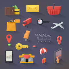 E-commerce vector icon set, flat design