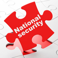 Safety concept: National Security on puzzle background