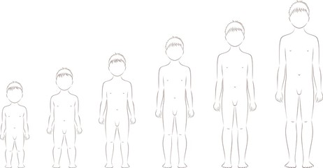 Vector illustration of man's figure from 1 to 10 years