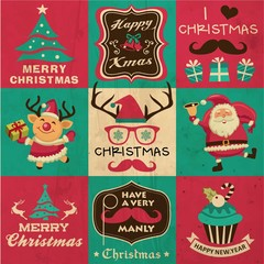hristmas symbols, icons and hipster elements vector collection