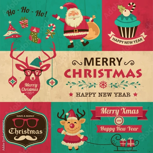 Vector collection of vintage Christmas elements