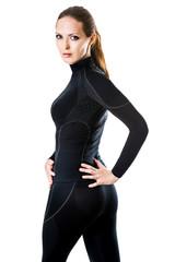 sexy woman in black thermolinen underwear