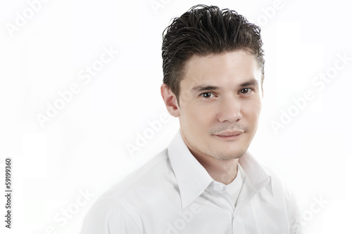 Headshot in white