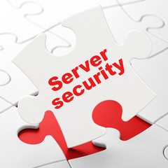 Security concept: Server Security on puzzle background