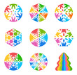 Snowflakes shape colorful vector icon set & Christmas Tree