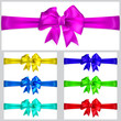 Set of multicolored bows with horizontal ribbons