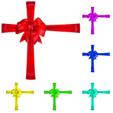 Set of multicolored bows with crossways ribbons