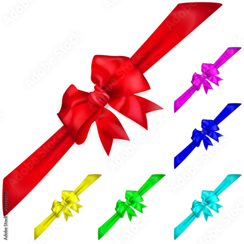 Set of multicolored bows with diagonally ribbons