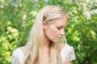 Blonde bride looking peaceful