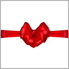 Red heart-shaped bow with horizontal ribbon