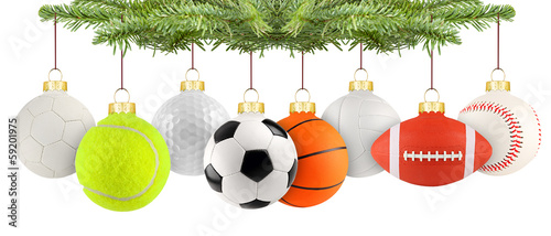 christmas balls of sport row