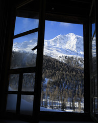 Winter scenery outside Alpine chalet