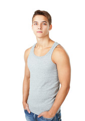 Portrait of young man wearing t-shirt