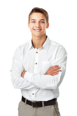 Portrait of happy smiling young man wearing a white shirt standi