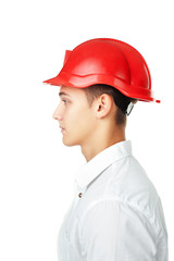 Side view portrait of young engineer