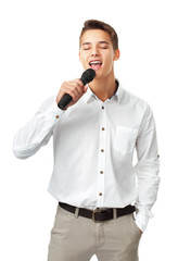 Young man singing