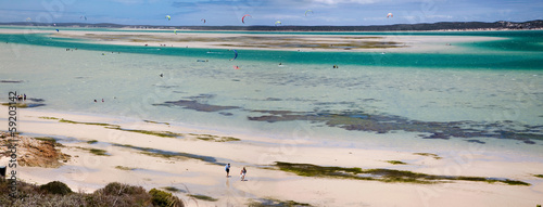 People kitesurfing at Langebaan, South Africa
