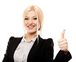 Cheerful businesswoman making the finger up sign