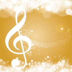 Golden christmas Background with clef, voucher