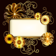 Vintage banner with golden flowers