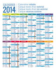 calendrier 2014 - CMJN éditable - vecteur