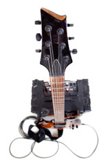 guitar and amplifier with cable, on white