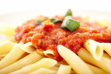 Traditional italian pasta with tomato and pepperoni sauce decora