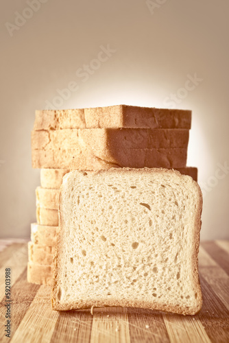 Toast bread on table