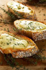 Crostini with mozzarella and fresh thyme