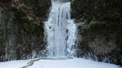 Multnomah Falls Frozen in Winter along Columbia River