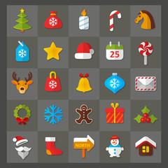 Set of flat icons. Christmas & New Year theme. EPS 10 + jpg