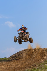 Dangerous extreme sports - jump on the quad