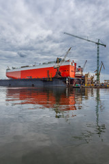 The ship in the dock - Repair Shipyard in Gdansk, Poland