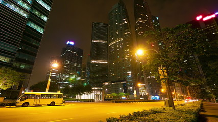 Modern city street at night, timelapse in motion