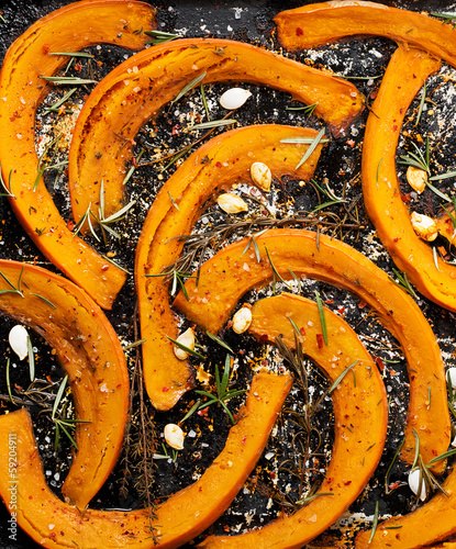 Roasted pumpkin with herbs