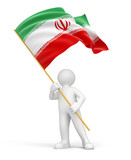 Man and Iranian flag (clipping path included)