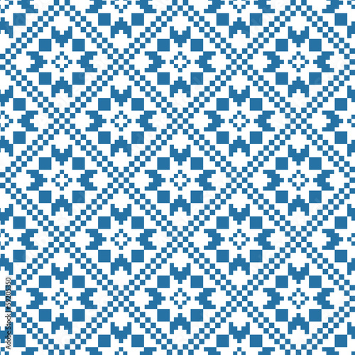 ethnic pattern in blue and white colours