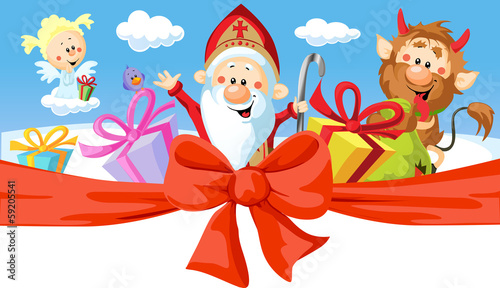 Saint Nicholas, devil and angel - vector illustration