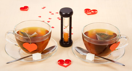 Two hot teas and hourglasses