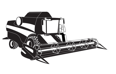 Grain harvester combine. Vector illustration.
