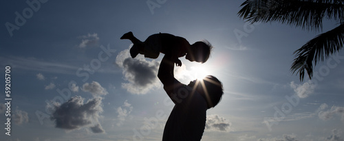 Silhouette Father with Son
