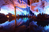 Underground lake in Reed Flute Caves in Guilin, China