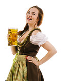 Happy woman drinking beer during Oktoberfest