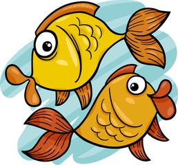 zodiac pisces or fish cartoon