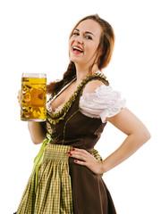 Happy woman drinking beer during Oktoberfest