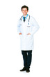 Full length portrait of the smiling doctor standing on a white