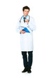 Full length portrait of a male doctor holding a notepad on white