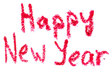 HAPPY NEW YEAR is written with lipstick. Isolated on white