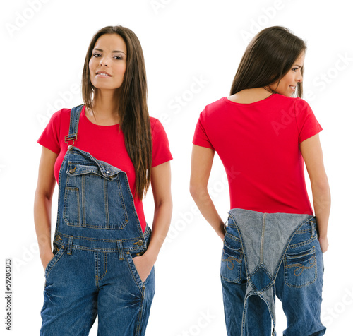 Beautiful model posing with blank red shirt